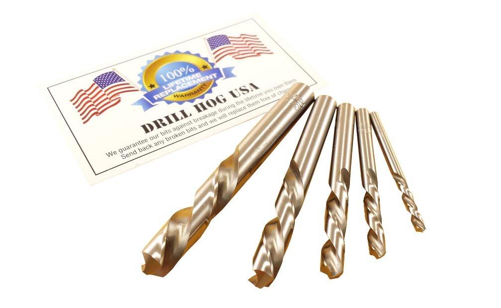 Drill Hog USA 5 Pc Left Handed Drill Bit Set Niobium Nb41 by Drill Hog