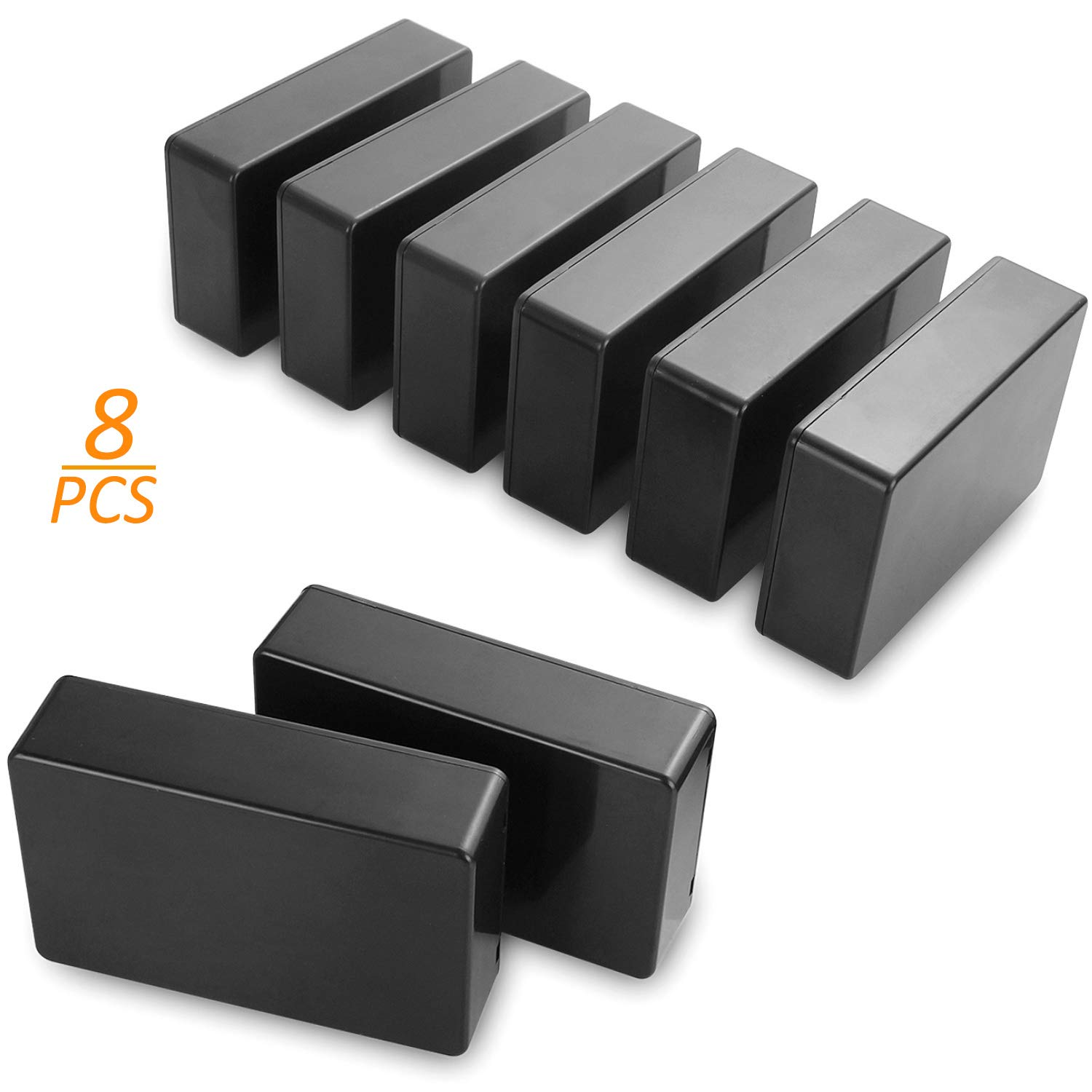 8 Pcs Project Boxes Small Plastic Waterproof Junction Case, 100 x 60 x 25 mm Black ABS Electrical Project Box DIY Power Junction Box for Electronic Project STARVAST