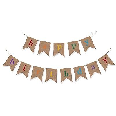 """""""Happy Birthday"""" ou joyeux bon anniversaire - Banderole ou guirlande rustique en jute vintage - Fête surprise pour enfant"""