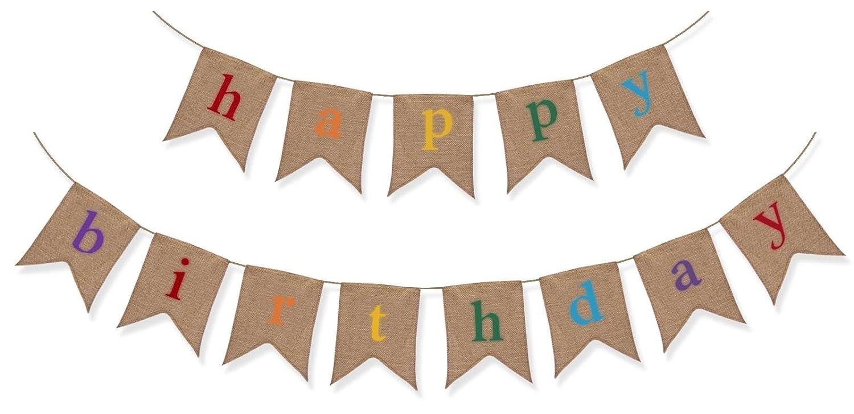 Sterling James Co. Guirnalda Rústica de Arpillera - Decoración para Fiesta de Cumpleaños