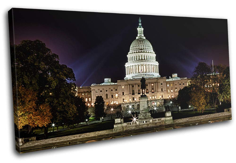 Bold Bloc Design - Capitol Building Washington DC Landmarks 80x40cm Single Leinwand Kunstdruck Box gerahmte Bild Wand hangen - Bereit zum Aufhangen - Canvas Art Print RC-0527(00B)-SG21-LO-A