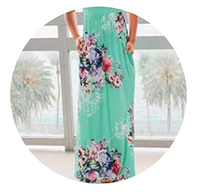 446faa9c8f Amazon.com: 2018 Summer Long Dress Floral Print Boho Beach Dress Tunic Maxi  Dress Women Evening Party Dress,Green,XXL: Clothing