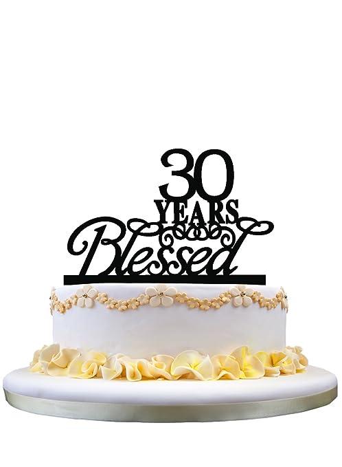 30 años bendecido pastel de monograma para regalos de ...