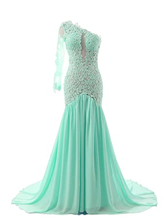 JAEDEN Womens One Shoulder Sexy Mermaid Evening Prom Dress Party Gown Aqua US2
