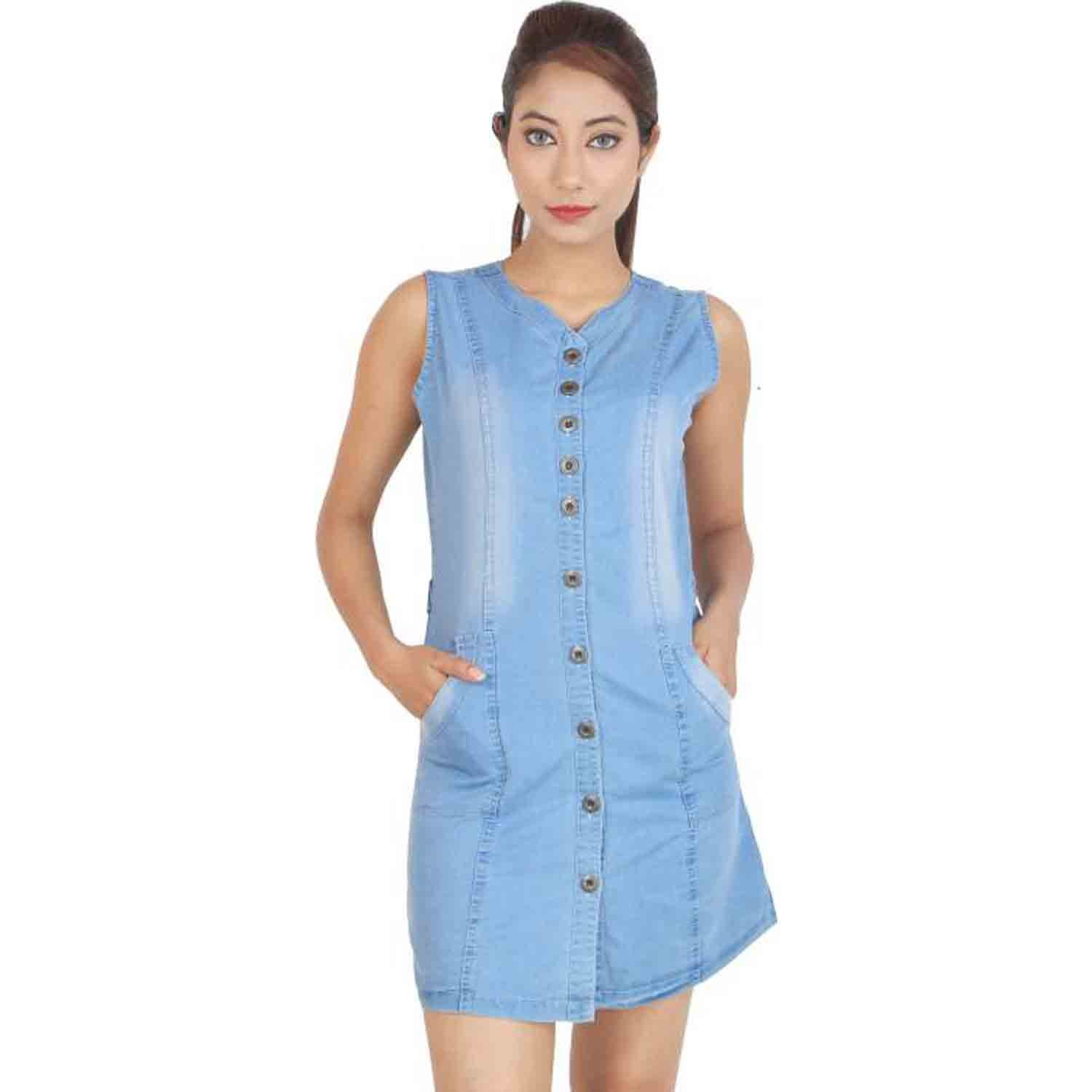 eb0482d919 C.Cozami Women s Solid Formal Denim Light Blue Dark Blue Midi Dress   Amazon.in  Clothing   Accessories