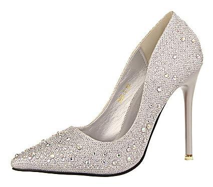 8370fbf343fc8f Minetom Femme Escarpin Talon Haut Élégant Brillant Strass Stilettos Soirée  Mariage Bal Classique Chaussures: Amazon.fr: Vêtements et accessoires