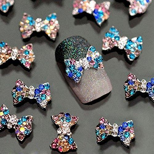 3D Nail Art Charms,Fashionclubs Glitter Bow Rhinestone Nail Art Sticker Decoration,Nail Tip Pendant Decal DIY Decoration,30-Pack -