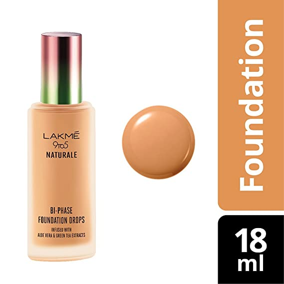 Lakme 9 to 5 Naturale Foundation Drops, Natural Almond, 18 ml Foundation