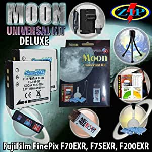 The Moon Universal Kit for FUJI Finepix F75EXR, Fujifilm X10 / F500 EXR (FinePix F505 EXR) / F550 EXR F80EXR. Includes: 2 FUJI NP-50 1100mAh Ultra High Capacity Batteries made with cells produced in JAPAN or USA, Table-Top Wire Tripod, 110/240 Mini Charger with fold out plug and a DC car adapter, SD/SDHC Card Reader, LCD Protection Film Kit and more. (NON OEM).