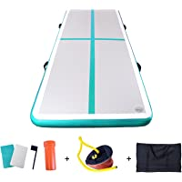 Inflatable Tumbling Gymnastic Air floor Mat Track Cheerleading for Home Use/Gymnastics Training/Yoga/Beach/Park and Water, Length 118 Inch - Green