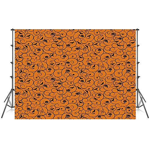 Halloween Stylish Backdrop,Floral Swirls with Dots Little Bats