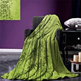 smallbeefly Exotic Custom printed Throw Blanket Tropical Forest Rainforest Jungle Paradise Ecology Feng Shui Spa Velvet Plush Throw Blanket Pistachio Green Fern Green