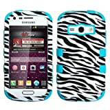 MYBAT Hybrid Phone Protector Cover for Samsung Galaxy Ring M840 Prevail 2/Galaxy Ring - Carrying Case - Retail Packaging - Zebra/Tropical Teal