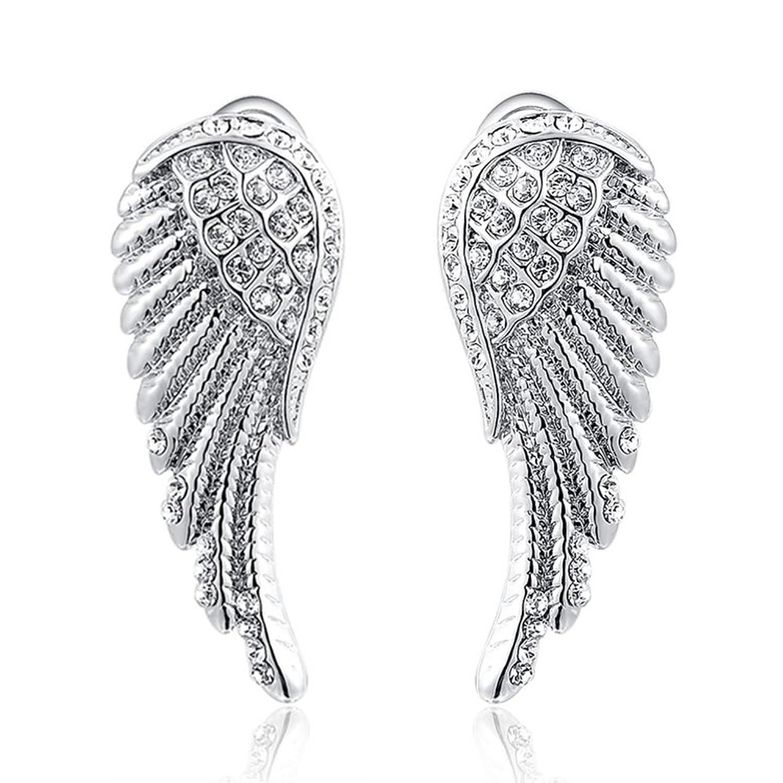 O4U Angel Wings Genuine Austrian Crystals Gold Plated Earrings