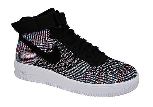 Nike Men's Air Force 1 Ultra Flyknit Mid Sneaker Black Blue Glow Size 12 D (US) .