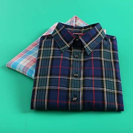 A-HXTM Camisa Moda Mujer Camisas a Cuadros Blusas de Manga ...