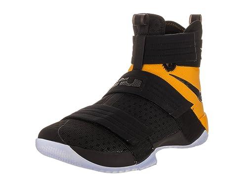 2adf0cf9a06b6 Zapatillas de baloncesto Nike Lebron Soldier 10 SFG Black   Black  University Gold 12 Estados Unidos  Amazon.es  Zapatos y complementos