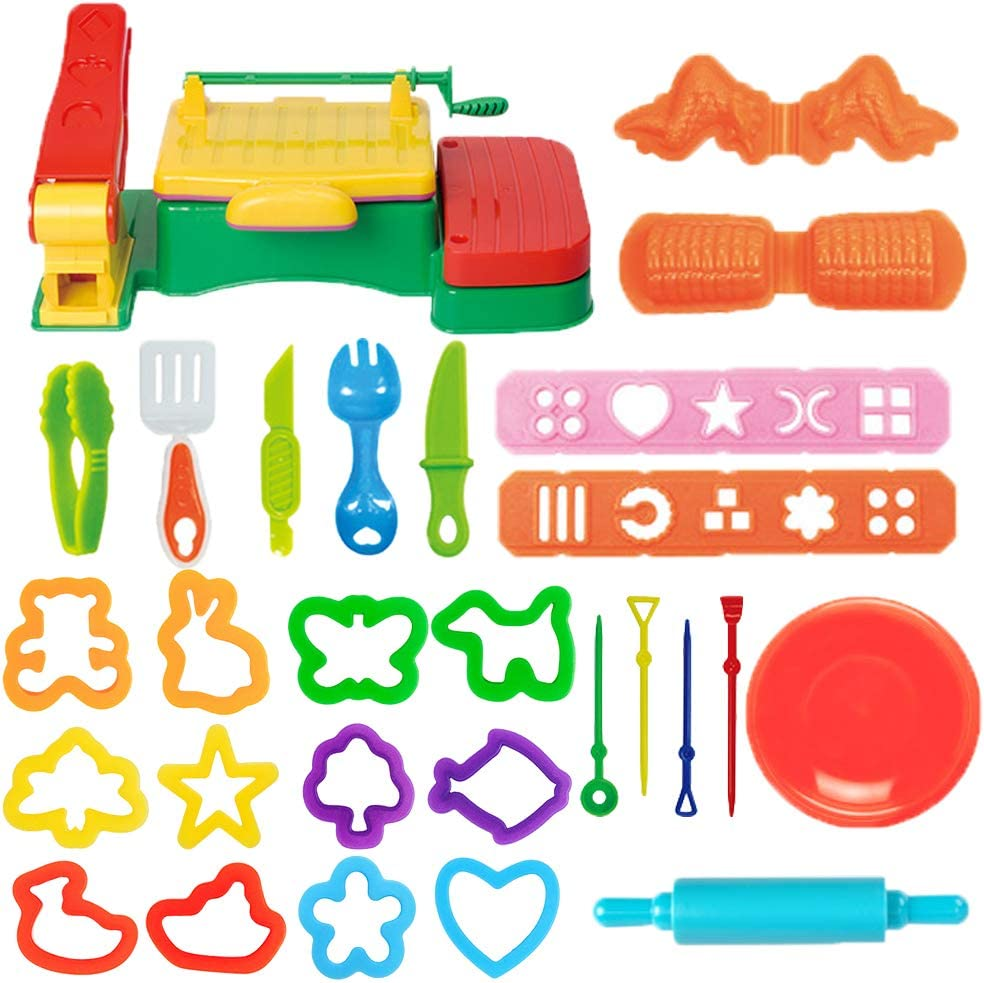 Pecopcock Play Dough Tools Set for Kids BBQ Barbecue Machine Set Can Make Pasta Noodles Dough and Grilled Food Dough (28 Pieces)