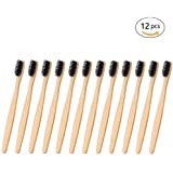 Bamboo Toothbrush Natural Wooden ECO Friendly Toothbrush Made with Bamboo Charcoal Infused Soft Bristles 12 Pcs