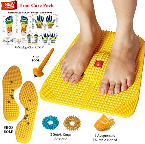 Acupressure Power Mat with Magnets n Pyramids for Pain Relief Useful for Heel Pain - Knee Pain - Leg Pain - Sciatica - Cramps - Migraine - Depression With Acupressure ()