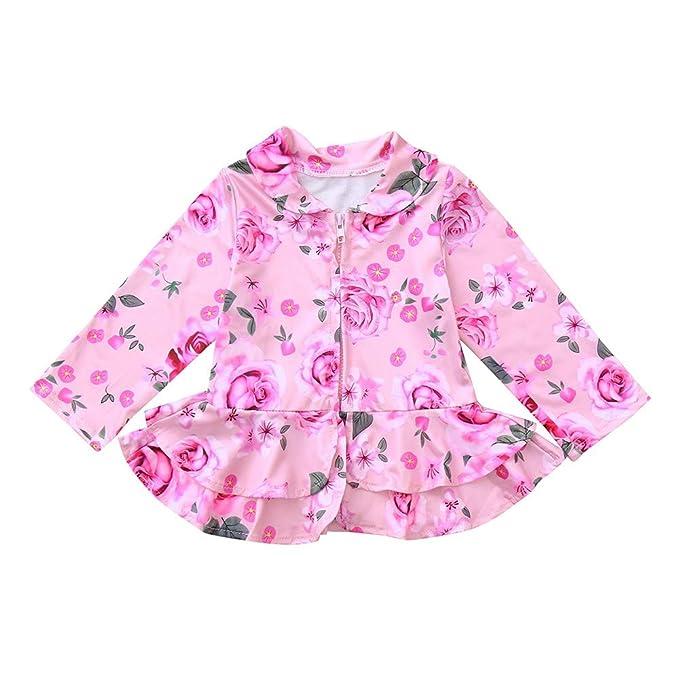 ASHOP Ropa Bebe Otoño Invierno, Niño Niña Impermeable Abrigo Chaqueta con Estampado Floral Rosa de Manga Larga 0-4 años: Amazon.es: Ropa y accesorios