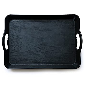 """EPFamily 13.7""""9.4""""1.5Rectangular Black Plastic Serving Tray  with Handles,"""