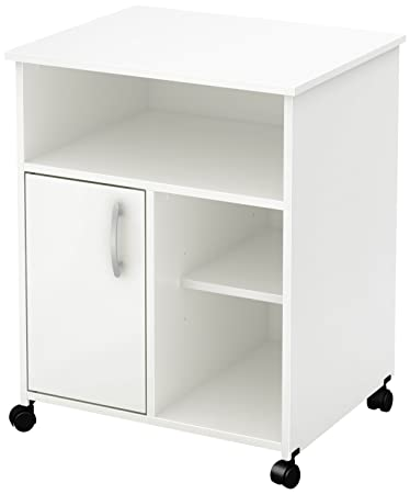 South Shore 7250691 1-Door Printer Stand with Storage on Wheels, Pure White