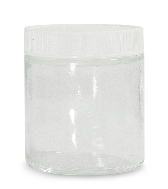 Case of 24 8oz Capacity Round Clear Qorpak GLC-04868 Glass Straight Sided Jar with 70-400 White Polypropylene SturdeeSeal Polyethylene Foam Lined Cap 73mm OD x 89mm Height
