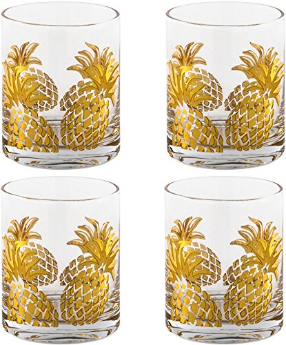 (HC Classic Home Set of Four (4) Gold Pineapple Wine Glass Double Old Fashion(12.5)
