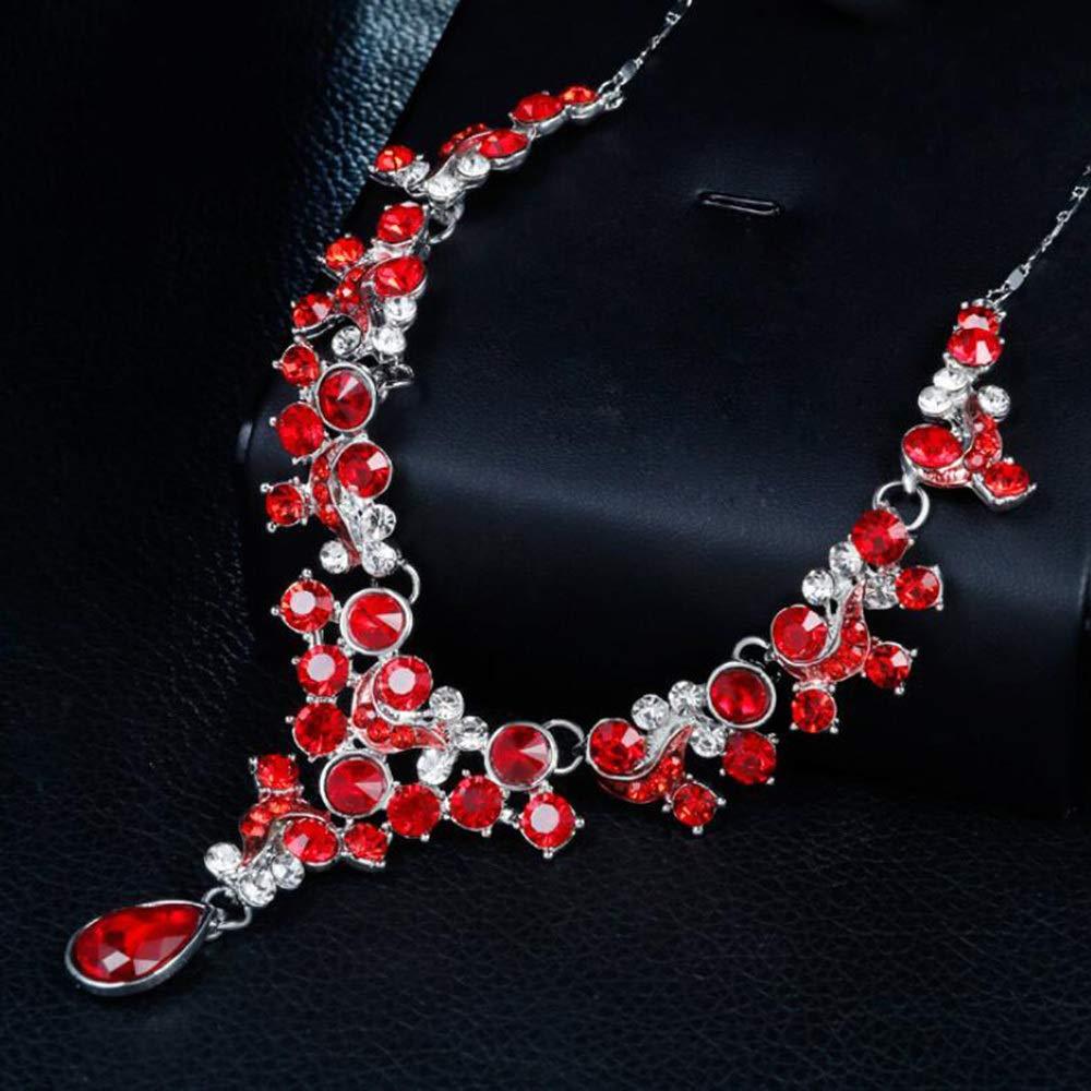 MYYQ Women Necklace Pendant,Womens Floral Tricolor Rhinestone Necklace Earrings Set Bridal Necklace Set Perimeter 45cm5cm