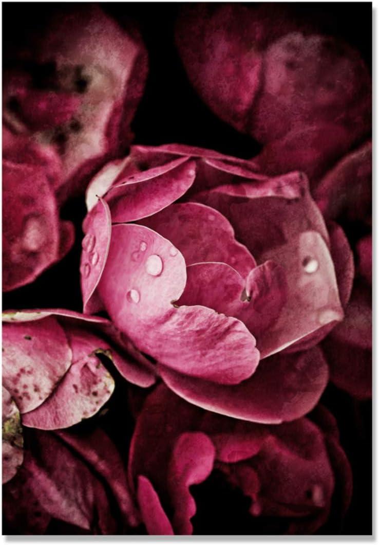 Danjiao Hoja Verde Oscuro Rojo Negro Rosa Cuadros Decoracion Flor Arte De La Pared Pintura De La Lona Cartel Nórdico Decoración De La Pared Imagen Sin Marco Sala De Estar Decor 60x90cm