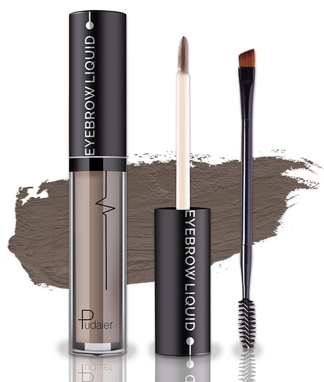 Waterproof Eyebrow Gel, Long Lasting Smudge-Proof Liquid Brow Makeup Tint, Brow Shaper with Mascara Primer Brush Wand Kit Mother's Day Gift ( Color-Ash Brown)