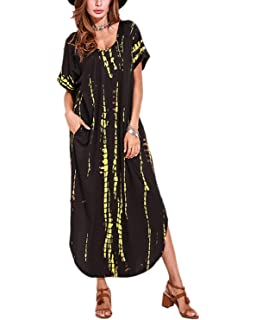 VONDA Womens Split V Neck Short Sleeve with Side Pockets Summer Long Maxi Dress