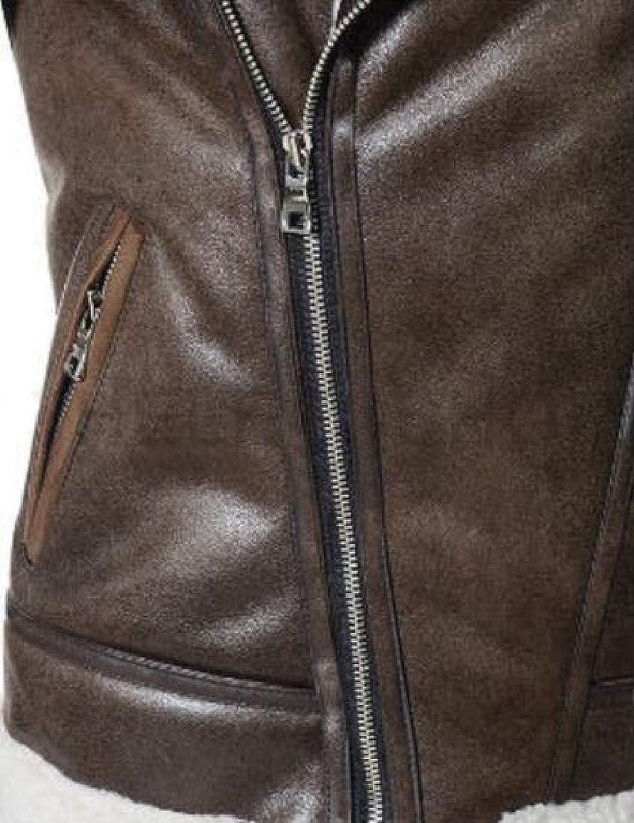 QUHSMen Oblique Zipper Lapel Plus Velvet Bomber Jacket