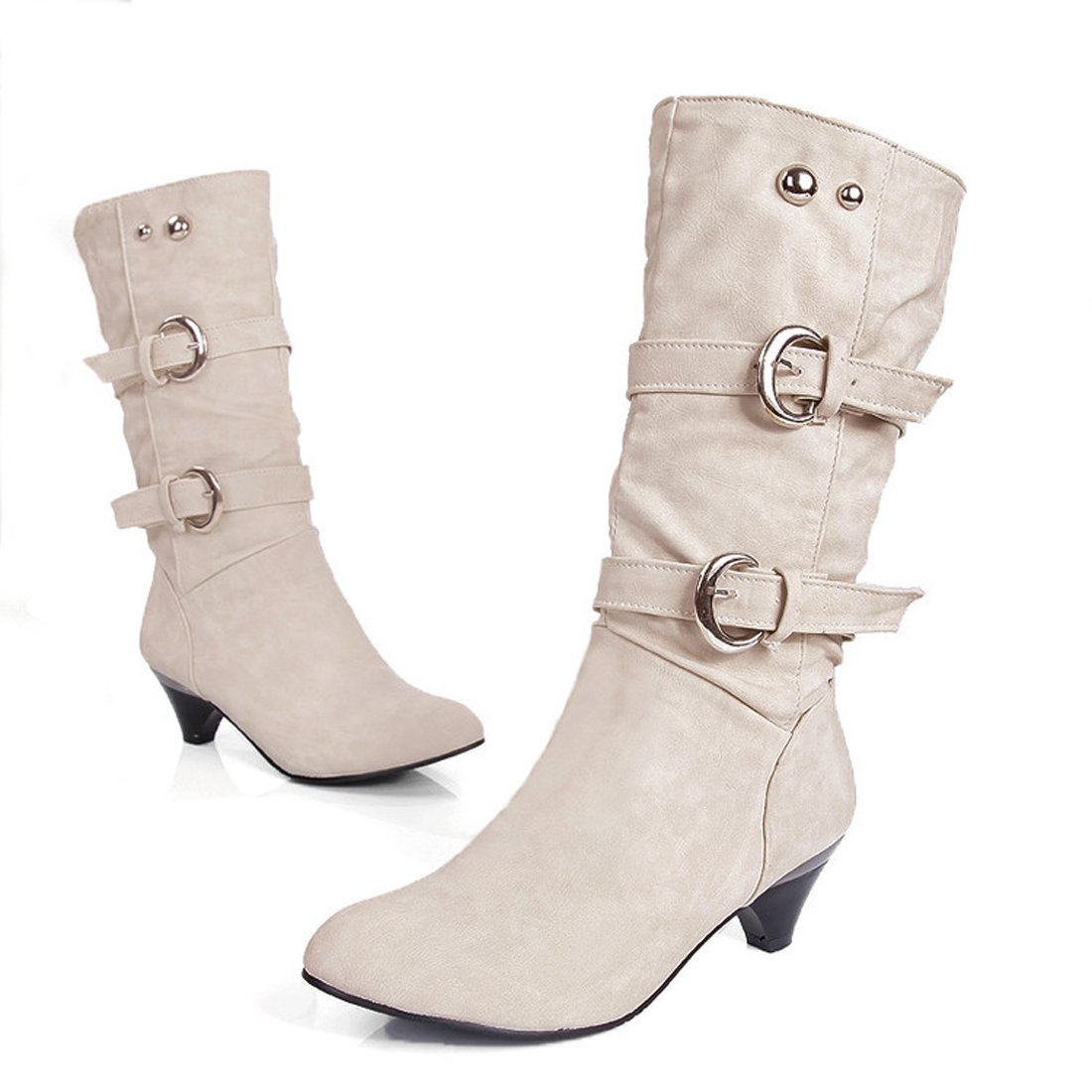 Susanny Women's Buckle Straps Low Heel Casual Trendy Autumn Round Toe Mid Calf Knee High Boots