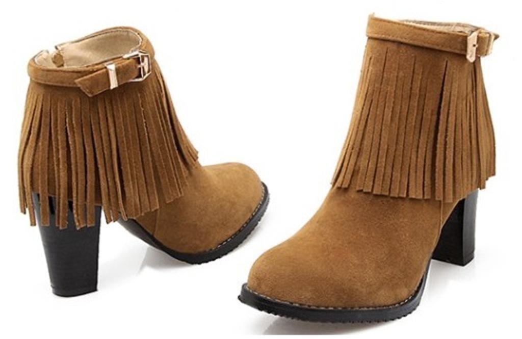Kitzen Women Suede High Heel Pumps Quaste Runde Kopf mit Bowtie Party Dress Stiefel Dark Brown