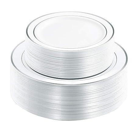 Platos desechables de plástico, color blanco, platos desechables ...