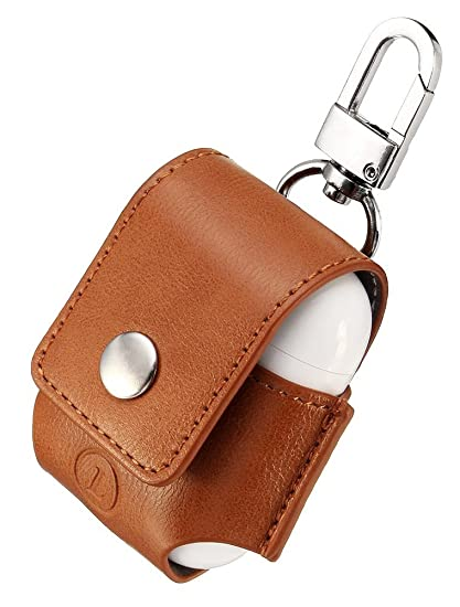 online store 001be 4aa42 AirPods Case Lunies Anti-Lost Leather Protective Cover for Apple AirPods  Charging Case Brown
