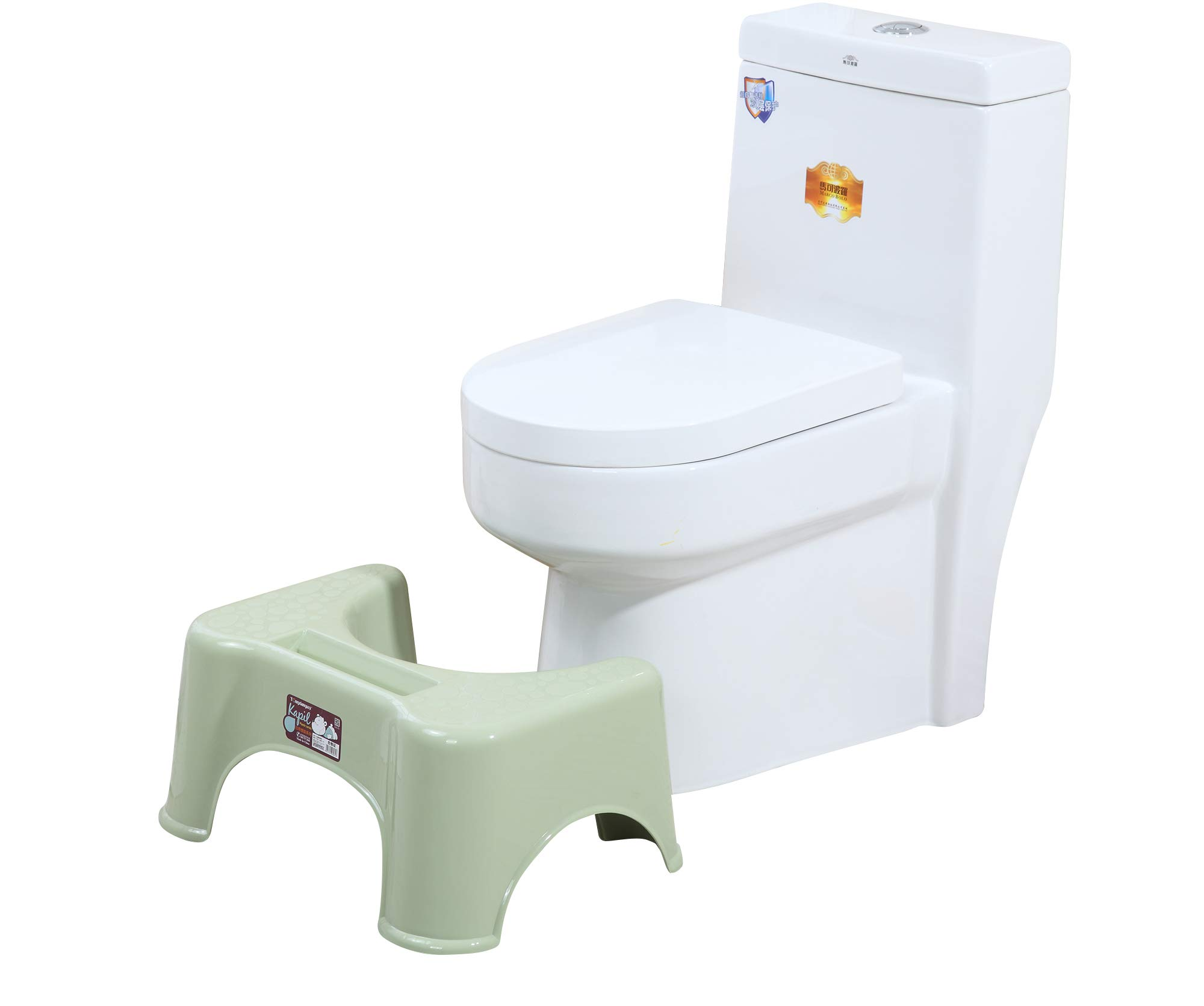 Toilet Stool for Bathroom - Space Save Durable Non-Slip Potty Stool for Elderly Kids Pregnant Women Height 8.5 Inch Green by WANY