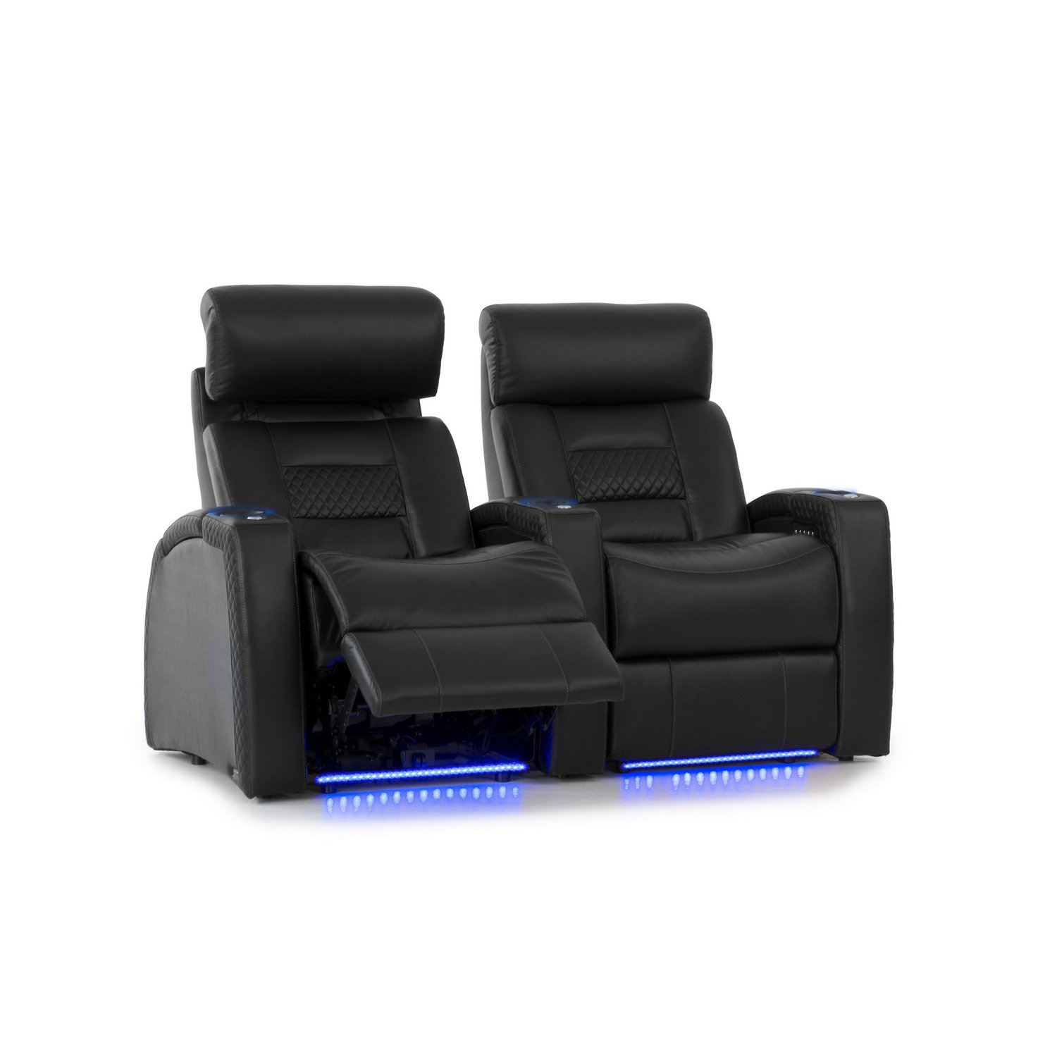 Octane Seating Flex HR Series Home Stadium Seating - Black Top Grain Leather - Power Recline - Motorized Headrest - Lighted Cup Holders - Straight Row 2 by Octane Seating