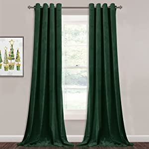 StangH Extra Long Velvet Curtains - Grommet Blackout Sliding Door Curtain Panels Privacy Assured Room Divider Curtains for Temporary Office / Shared Space, Dark Green, W52 x L108, 2 Panels