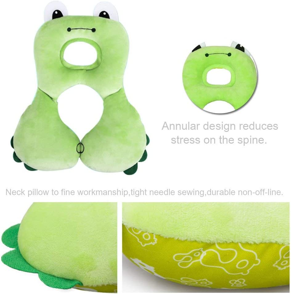 Green Frog StoHua Head Neck Support Travel Pillow for Baby Infant Toddler Kid Child /& Seat Belt Shoulder Pads for Car Seat Stroller