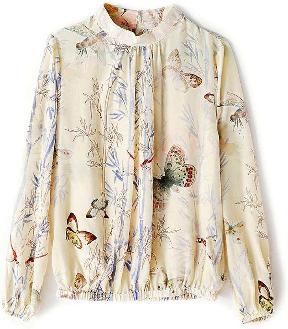 YingDeLi Mujeres Elegante Satén Seda Cuello Derecho Camisa Estampada Vintage de Manga Larga Top Blusa de Moda Slim fit Casual Blusa de Seda Top (XL): Amazon.es: Ropa y accesorios