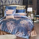 UniTendo 4 Piece Sateen Cotton Jacquard Duvet Cover Sets,Delicate Floral Pattern Bedding Sets,Duvet Cover Flat Sheet and 2 Pillowcases,Queen/Full Size, Blue Gray.