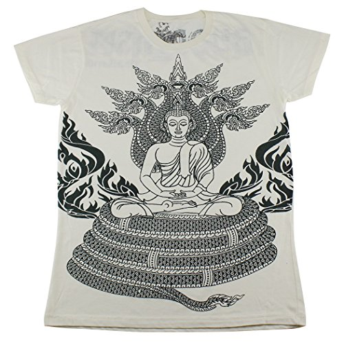 Price comparison product image WORK Buddha Buddhism amulet T-Shirt White / WK117 size M