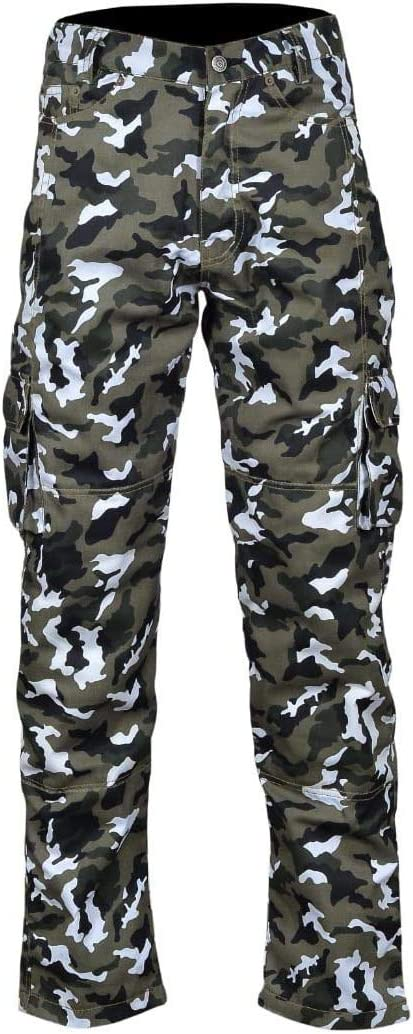 Mens Motorbike Motorcycle Padded Safety Protective Lining Camo Cargo Trouser Jean Pant 6 Pocket with Padding Camo Cargo, W30 - L32