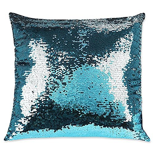Shimmer Square Throw Pillow in Teal, Add a marvelous burst of sparkle and shine to your décor, Measures 17