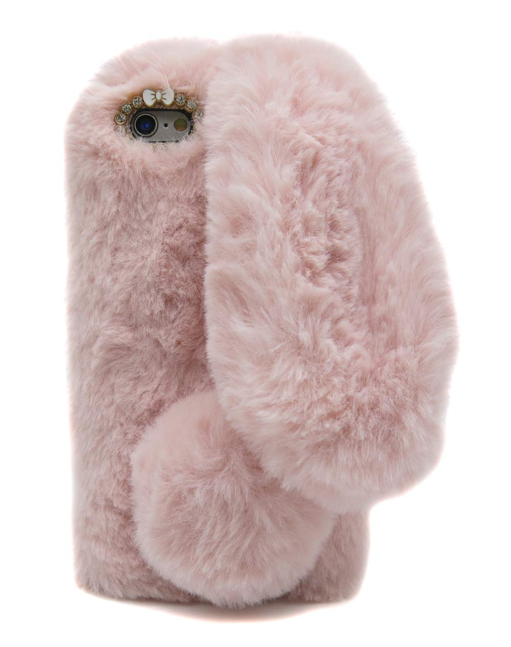 reputable site 3daa3 878d7 Furry Case Ears iPhone 6Plus Rose Pink, Fluffy Rabbit Case iPhone 6S Plus,  Fashion Pom Pom Faux Furry Bunny Case iPhone 6Plus & iPhone 6S Plus Soft ...