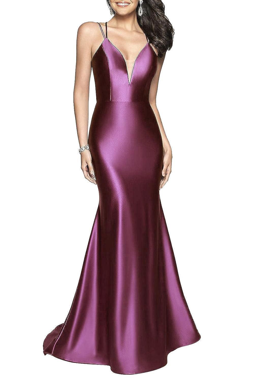 Plum Satin VNeck Long Spaghetti Straps Formal Prom Dress for Women with Train Skirt