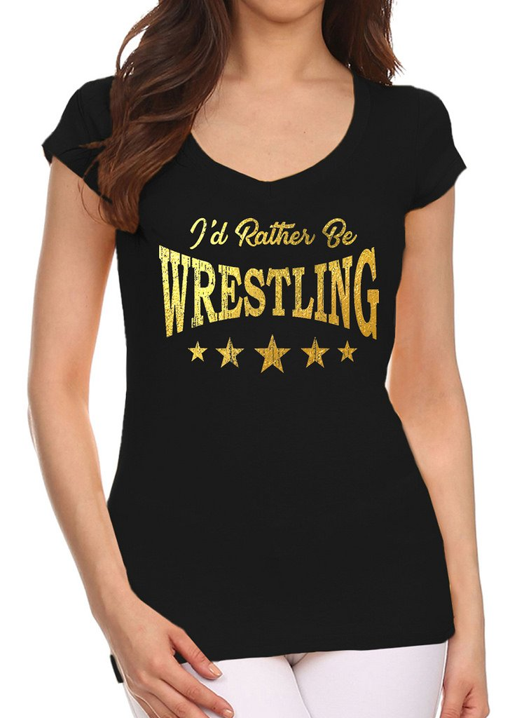 Interstate Apparel Inc Junior's Gold Foil I'd Rather Be Wrestling Black V-Neck T-Shirt Large Black